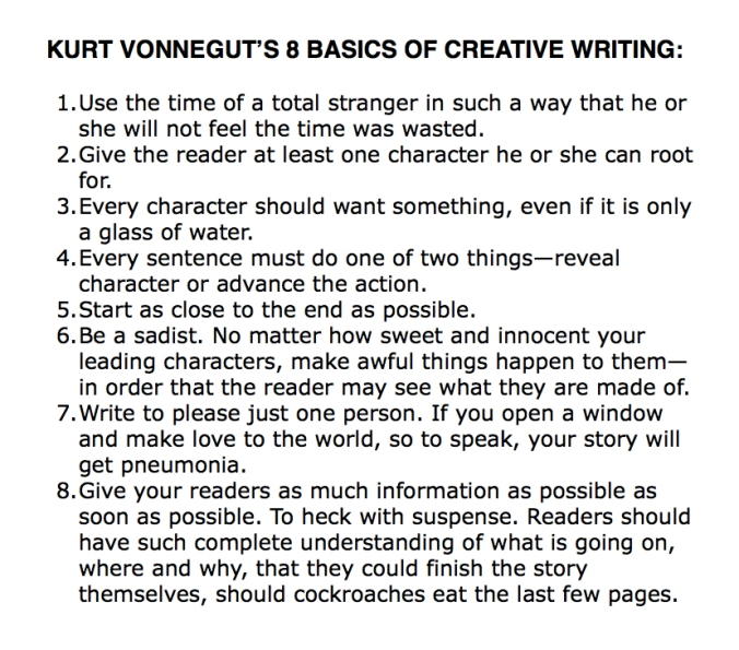 Kurt Vonnegut 8 writing basics