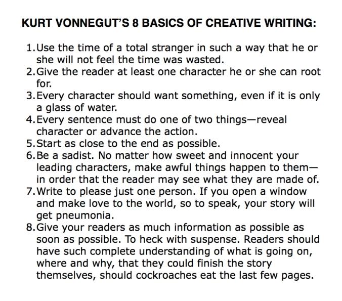 Kurt Vonnegut 8 writing basics